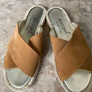 Maypol suede criss cross slide sandals size 7.5